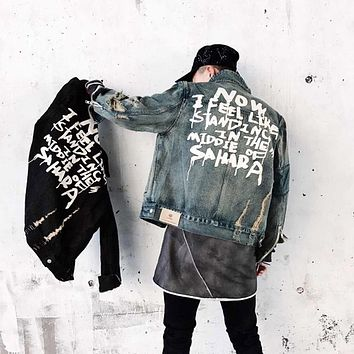 High Street Letter Graffiti Male Denim Jacket Men Women Wash Wate Loose Jeans Coat Fashion Hiphop Destroy Hole Denim Jacket