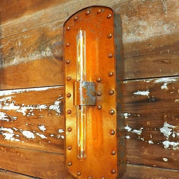 Wall sconce industrial light with rusty patina, Rivited lamp with edison bulbs. Steampunk decor