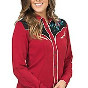 Panhandle Women's Red and Black with Floral Embroidery Long Sleeve Retro Western Shirt