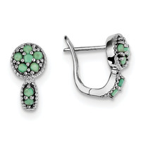 Sterling Silver Rhodium-plated Emerald Circle Hinged Earrings QE10113E