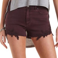 Crochet-Trim High-Waisted Denim Shorts
