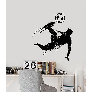 Vinyl Wall Decal Soccer Game Sport Player Ball Boy Silhouette Stickers (3377ig)