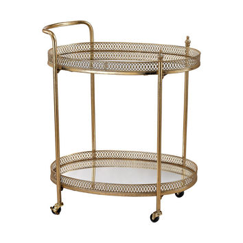 Sterling Industries  Banded Oval Bar Cart In Gold Leaf,Mirror 3200-032