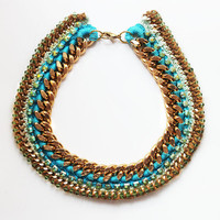 Turquoise Chunky Gold Layered Statement Necklace