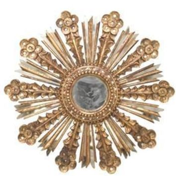 Bella Leaf Sunburst Mirror - Gold