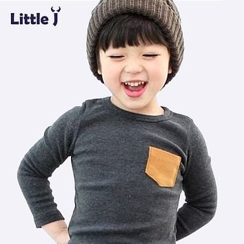 Soft Solid Kids Boys T Shirt Candy Color Long Sleeve Baby Girls T-Shirts Cotton Children's T-Shirt O-Neck Tee Tops Boy Clothes