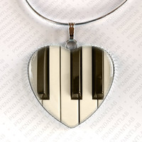 Piano Keyboard Pendant, Music Instrument Jewelry, Music Necklace, Music Jewelry, Gift for Music Lover, Gift for Musician, Charm