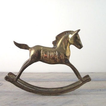 Vintage Brass Rocking Horse by 22BayRoad on Etsy