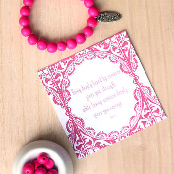 Pink Wooden Bead Bracelet with a Love Charm, Stacking Bracelet, Yoga Bracelet, Yoga Accessory,