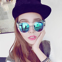 Multi Colored Round Mirrored Sunglasses