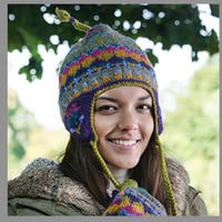 Beanie, Purple and Lime Sherpa Earflap Hat with Snug Fleece Lining. Finished with Alpaca Wool, multi-color braided wool border and tassels.