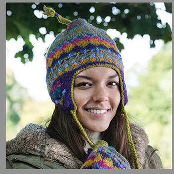 Winter Wear, Purple and Lime Sherpa Earflap Hat with Snug Fleece Lining. Finished with Alpaca Wool, multi-color braided wool border and tassels.