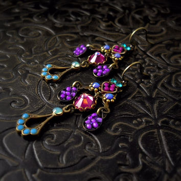Qandisa Micro Mosaic Earrings - Violet Turquoise Fuchsia, Vivid, Exotic, Rhinestone Chandelier, Custom Bridal, Garden Wedding
