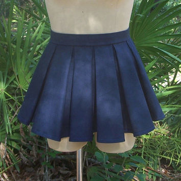 Box Pleat Mini Skirt Custom Made-to-Order Any Size/Any Color