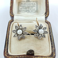 Antique Victorian to Edwardian Diamond and Pearl  Floral Daisy Wire Drop Dangle Earrings