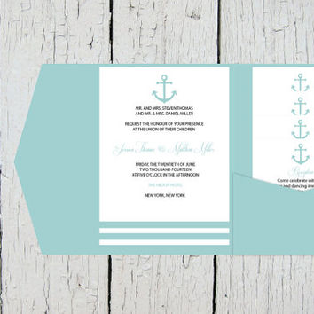Nautical Pocket Wedding Invitation Template Set - Pool Anchor Striped DIY Printable Editable PDF Templates Instant Download - DIY You Print