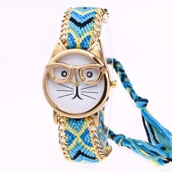 Montre Femme Bracelet Watch with Cat Wearing Glasses