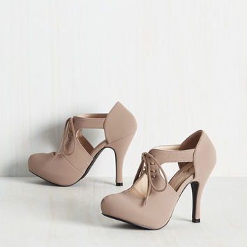Jaunts and Needs Heel in Taupe | Mod Retro Vintage Heels | ModCloth.com