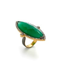 Two-Tone & CZ Marquise Ring by Azaara at Gilt