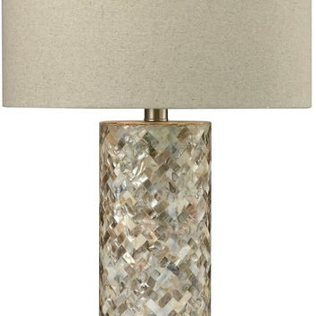0-005027>1-Light 3-Way Table Lamp Natural Mother of Pearl Shell