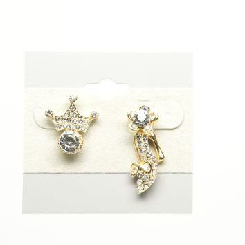 Crown and Shoe Gold Plated Fashion Earring with Cubic Zirconia