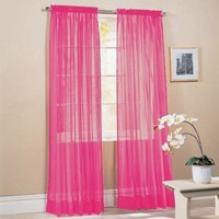 "2 Piece Solid Hot Pink Sheer Window Curtains/drape/panels/treatment 60""w X 84""1"