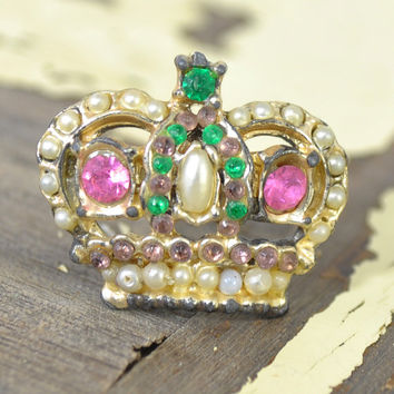 Vintage Crown Pin • 1950s Hat Pin • Vintage 50s Pin • Pearl Rhinestone Pin • Vintage 50s Brooch • Crown Jewelry • Princess Queen