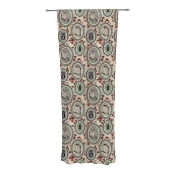 "DLKG Design ""Camafeu"" Gray Beetles Decorative Sheer Curtains - Outlet Item"