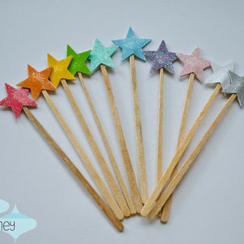 Set of 12 Tiny Star / Fairy Wand Cupcake Toppers
