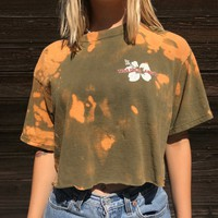 TRADER JOES Logo Crop Top, acid washed cropped T-Shirt, bleached tee, up-cycled , medium