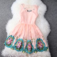 Fashion Flower of embroidery Dress AI2