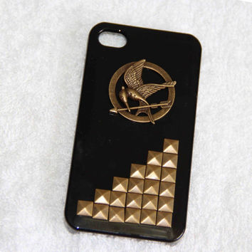 The Punk style Hunger Games mocking bird Rivet iphone 4/4S/5 case phone case scratch resistant  fashion gifts may trends summer fashion