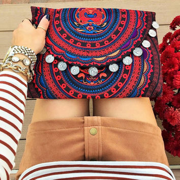 Red Gypsy Tribal Coin Clutch