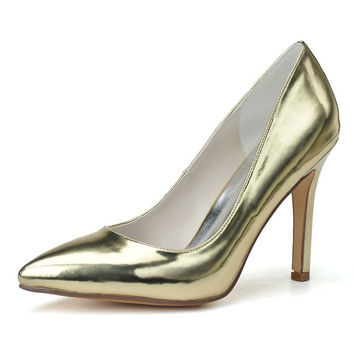 Fashion pointed toe metallic patent leather women's high-heeled shoes stiletto party prom pumps shoes gold silver  blue colors