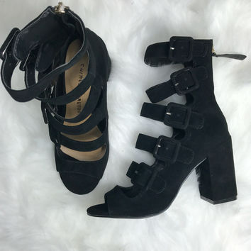CHINESE LAUNDRY Twilight Black Suede Buckle Heels