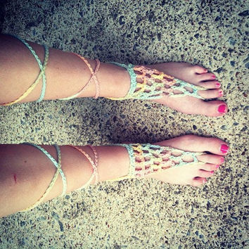 Crochet Barefoot Sandals Hippie Sandals Boho Sandals Festival Wear Boho Accessories Hippie Accessories Festival accessories Gypsy Sandals