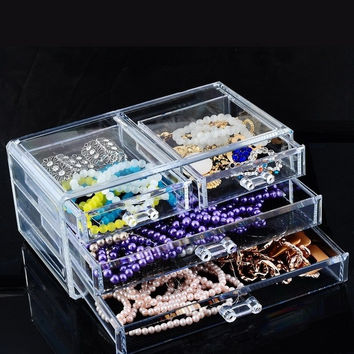 1PC 3-Layer Clear Makeup Cosmetic Drawers Organzier Case Storage Box (Size: 23.8cm by 13.4cm by 10.7cm, Color: Transparent) = 1705709188