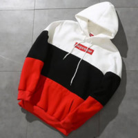 SUPREME Fashion Casual Box Letter Long Sleeve Hoodie Pullover Sweater Black G