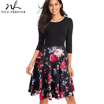 Nice-forever Autum Floral Casual Stylish Elegant Print Charming Women O Neck 3/4 Sleeve Zipper Work Office A-line Dress A057