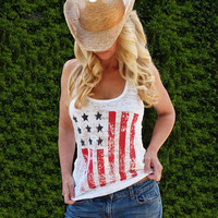 American Flag Loose Tank Top