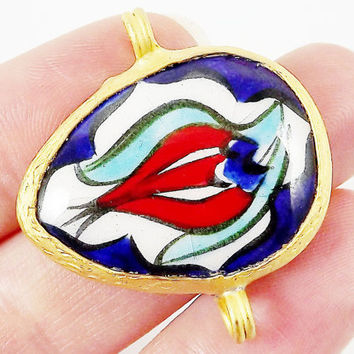Hand painted Turkish Cini Red Tulip Ceramic Connector - Navy Blue Sideways Teardrop No: 5 - Gold plated 1pc - GP106