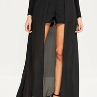 Missguided - Black Chiffon Maxi Detail Shorts