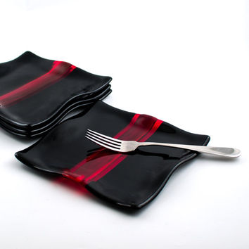 Black and Red Fused Glass Plates, Luncheon Set, Square Dinner Plates, Dessert Dishes, Modern Design, Unique Wedding Gift for Couples