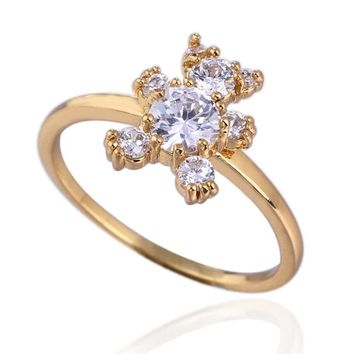 Lovely Bear White CZ Fashion Jewelry  Gold-Color Fine Cubic Zirconia Wedding Trendy Ring Free Shipping Szie 6 7 8 9