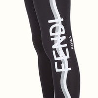 Black fabric capri leggings - LEGGINGS | Fendi | Fendi Online Store