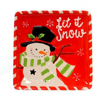 Tabletop WINTER'S FROST SNOWMAN PLATE Ceramic Microwave Safe 178897 Black