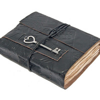 Embossed Black Leather Journal with Tea Stained Pages and Heart Key Bookmark