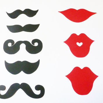200 PCS - Black Mustache - Red Lips - Die Cuts - Perfect for your Party - Shower - Gender Reveal - Wedding - Photo booth