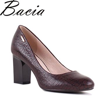Bacia Irregular Stone Pattern Sheepskin Woman High Heels 7.5cm Pumps Red Black High Heels Leather Pumps Shoes Size 35-41 SB025