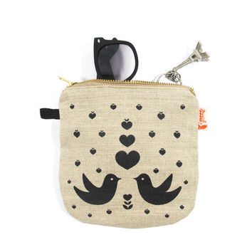 Black Print Love Birds Linen Zipper Pouch